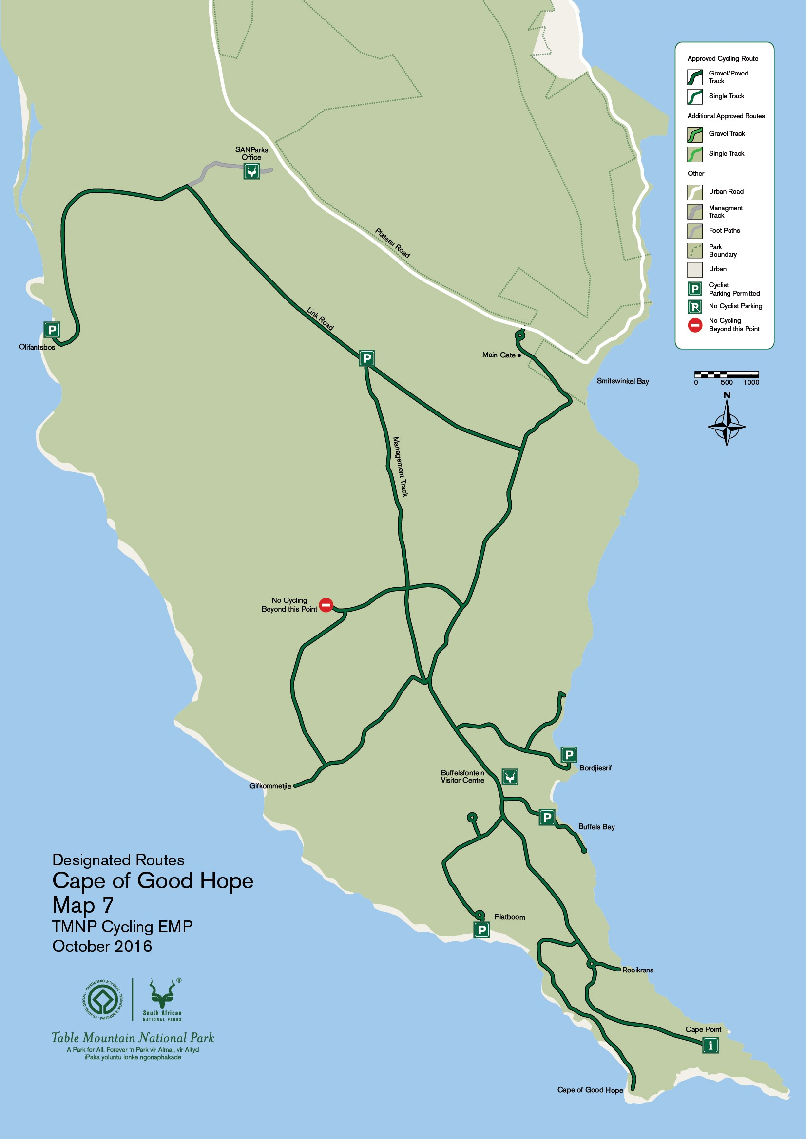 The Cape of Good Hope - Bicycle South Cape Of Good Hope Map on